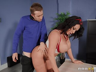 Fine ass MILF bends over the desk for this dude to pound her