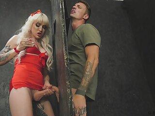 Blond shemale Lena Moon enjoys glory hole sex added to fucks bisexual bloke
