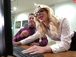 Cheeky office MILF is pleased to allotment the boss's dick in such manners